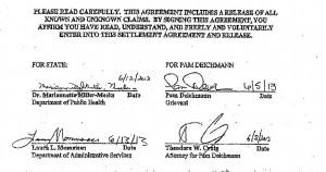 Miller-Meeks Signature on Settlement Document