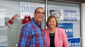 House district 91 candidate John Dabeet poses with Lt. Governor candidate Monica Vernon in Muscatine Saturday