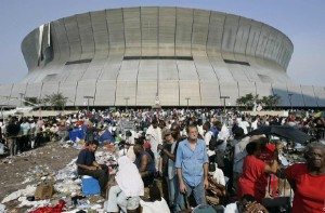 Hurricane Katrina survivors wait to be evacuated from the Superdome in New Orleans
