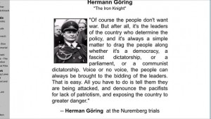 Goring on controlling the people