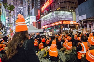 Orange Walk in Times Square