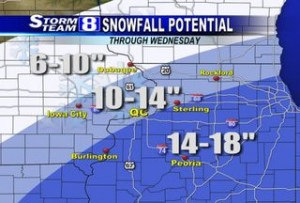 WQAD map of accumulations  Feb. 1, 2011