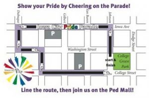 pride parade route Iowa City 2016