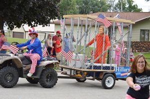 float in Arcadia Iowa parade. (credit to the Carroll Times Herald)