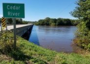 Cedar River at Iowa Highway One on Sept. 27, 2016 at 11:36 a.m.