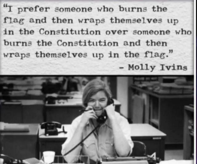 Molly Ivins wrapped in the flag