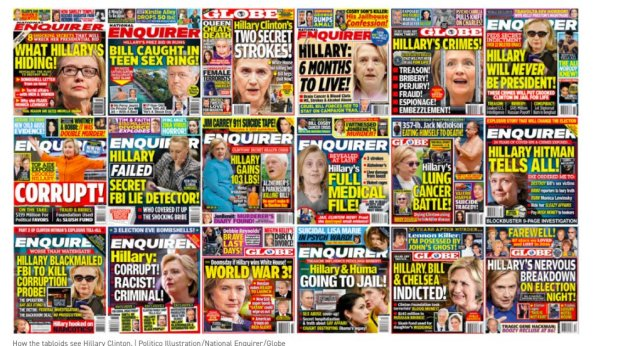 how the National Enquirer covered Hillary Clinton