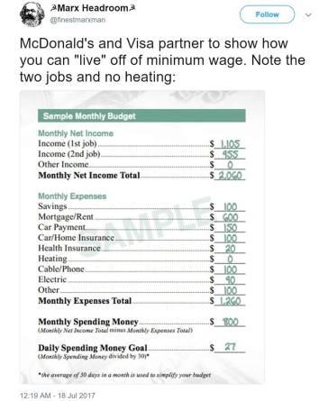 living on McD's salary