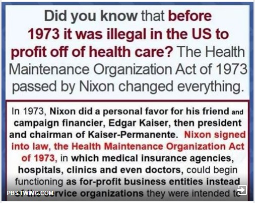 was illegal to profit off health care til 1973