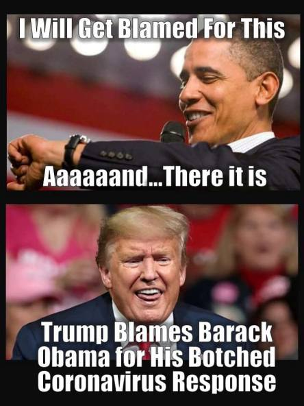 Trump blames Obama for Trump's failure