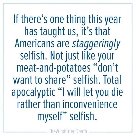 Americans staggeringly selfish AHNC